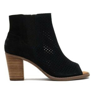 TOMS Black Perforated Peep Toe Suede Bootie 9.5